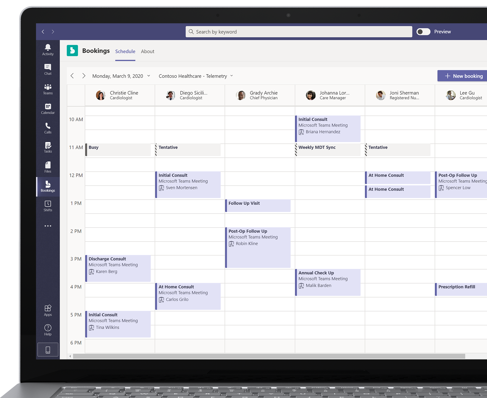 A laptop screen showing several medical professionals' schedules in the Bookings calendar within Microsoft Teams