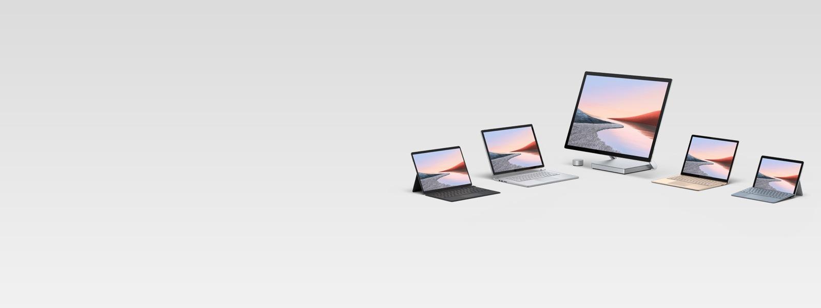顯示數台 Surface 電腦
