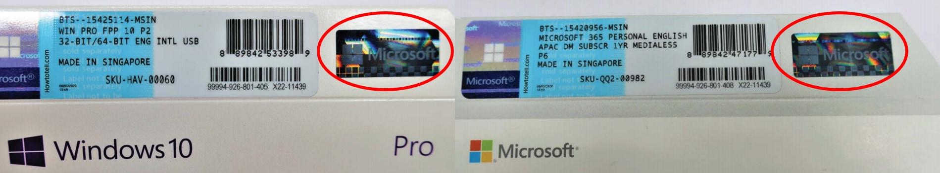 Nhận biết bản quyền Microsoft FPP