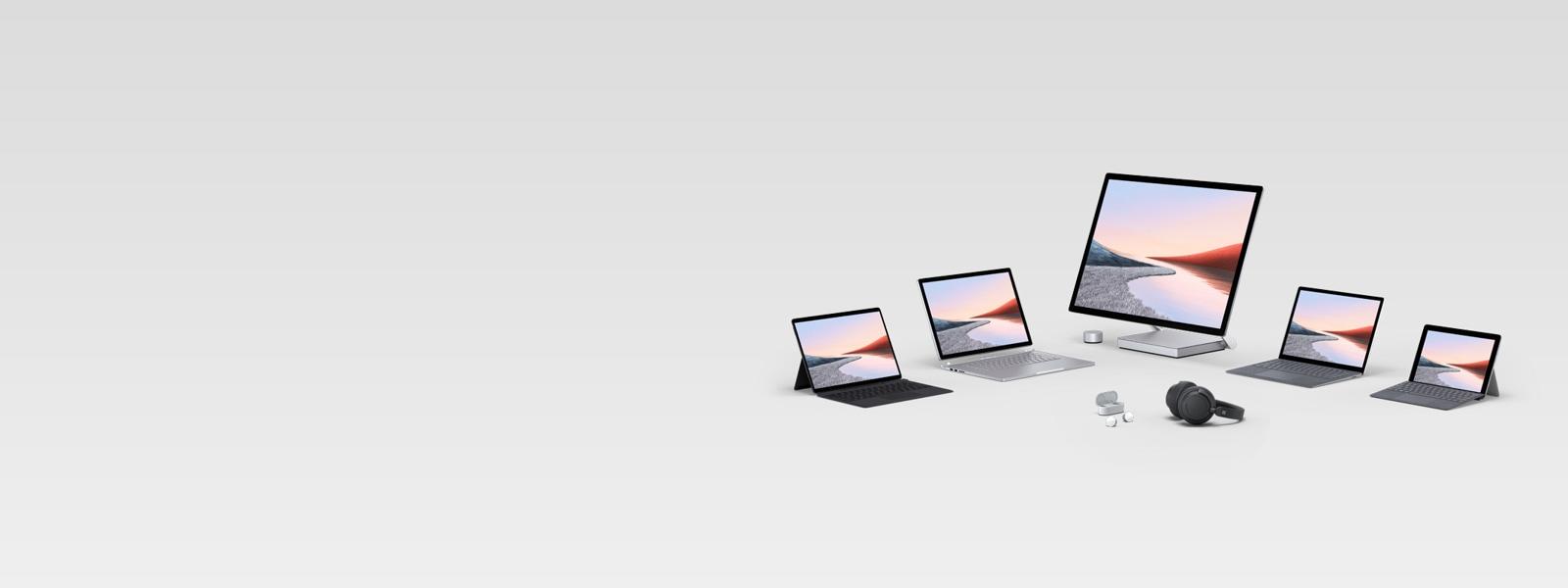 En oversikt over flere Surface-datamaskiner