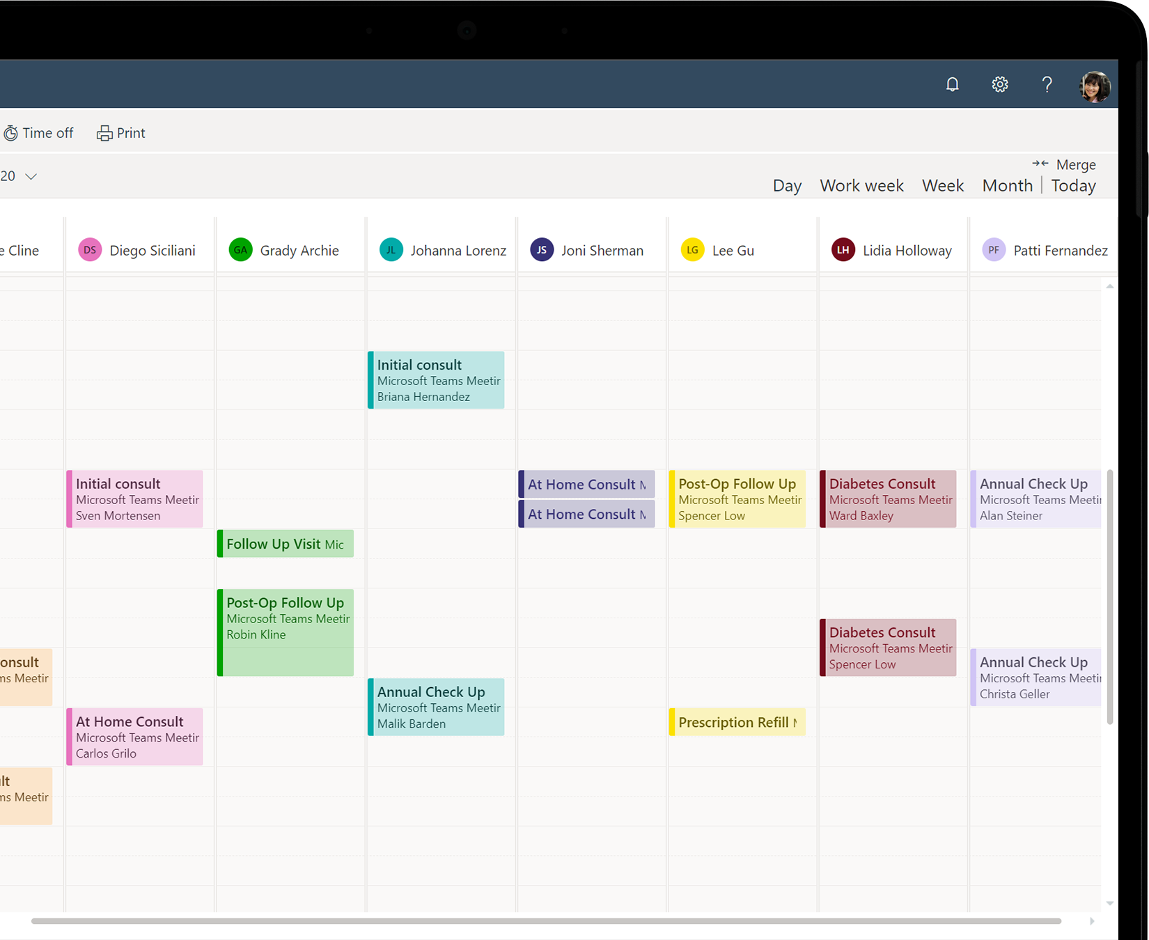 A device screen showing staff members' schedules in the Microsoft Bookings main calendar