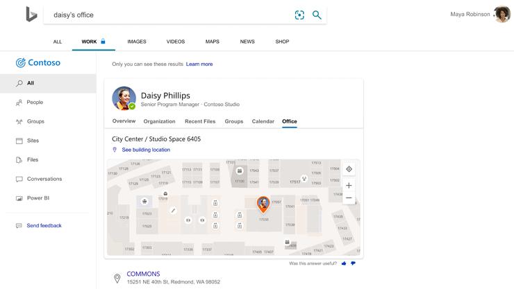Strona wyników wyszukiwania Bing pokazująca umiejscowienie biura pracownika na planie piętra.