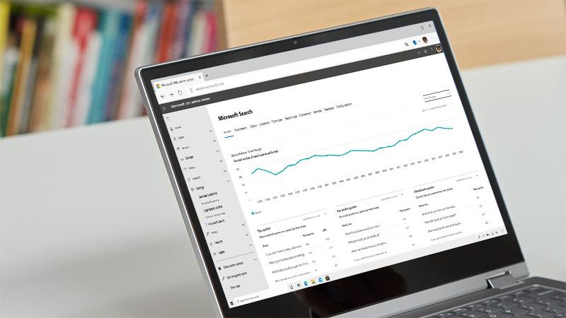 Pulpit nawigacyjny analizy z informacjami o funkcji Microsoft Search w portalu administracyjnym usługi Microsoft 365