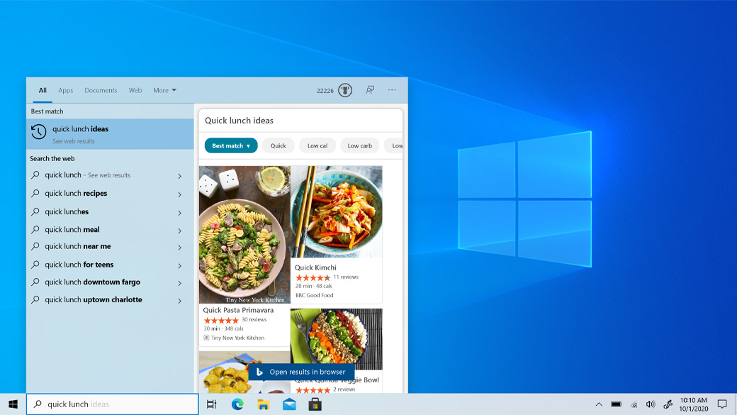 Search bar from Windows 10 Taskbar