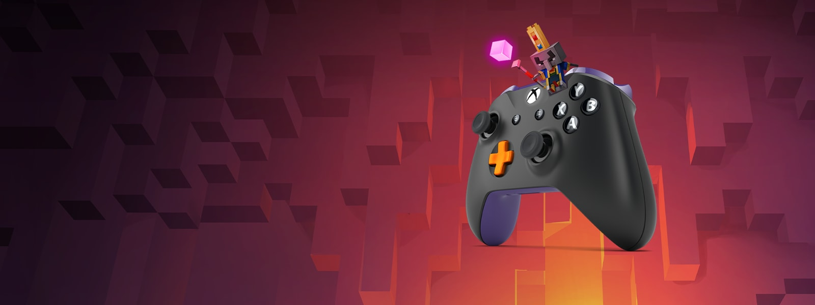 Minecraft dungeons mage sitting atop a black xbox one controller with an orange d pad.