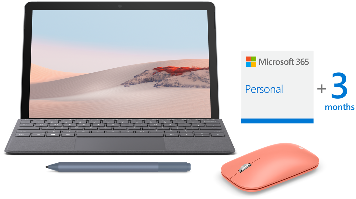 Surface Go 2 with Type Cover, Surface Pen, Microsoft 365, Mouse