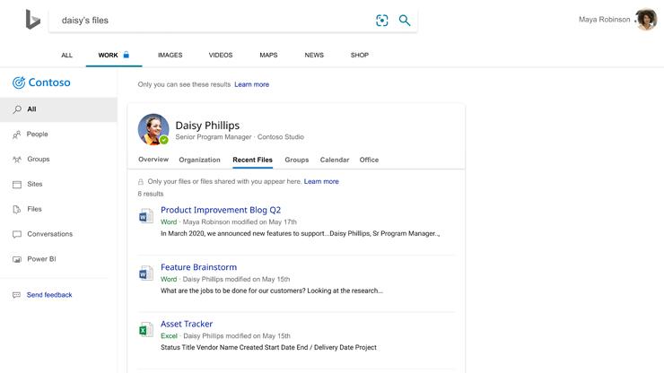 Strona wyników wyszukiwania Bing z plikami, nad którymi ostatnio pracował jeden z pracowników