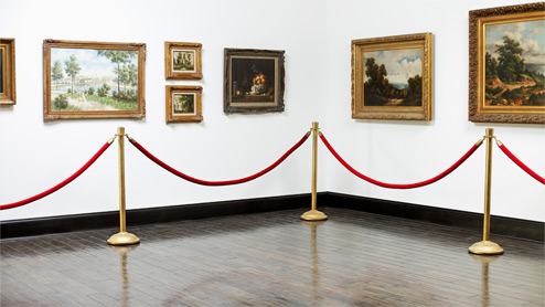 Paintings displayed on a museum wall