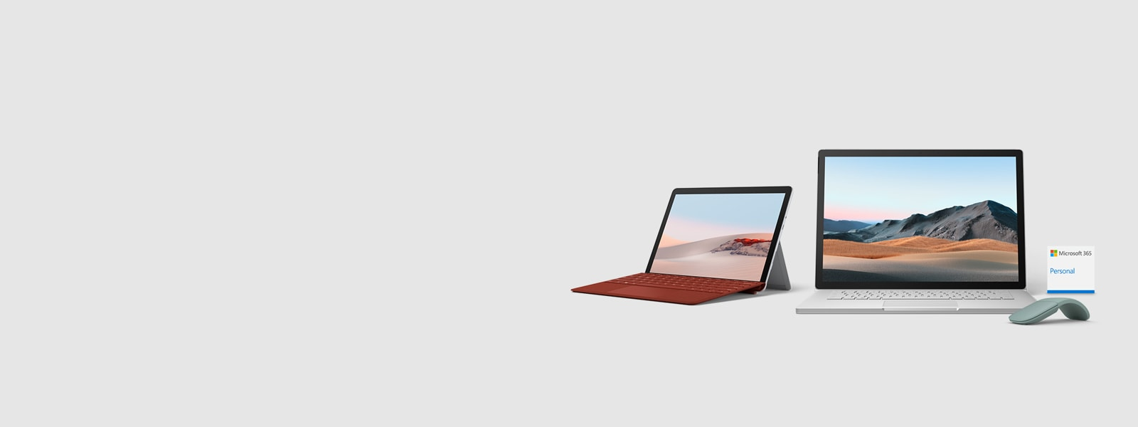Surface Go 2 with Surface Book 3 and Microsoft 365 Personal and Microsoft Arc Mouse