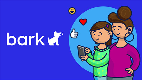 Cartoon illustration of a mother watching her daughter use a mobile device with smiley, heart, and thumbs up icons and the Bark logo over a blue background