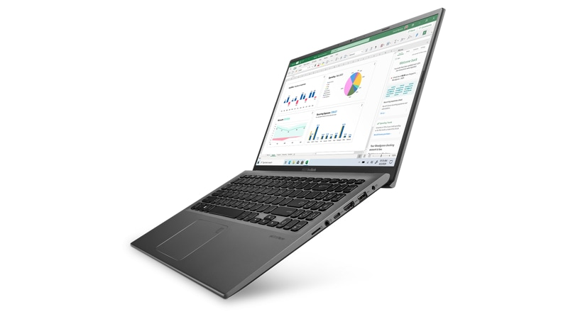 Asus Vivobook 15 Laptop mirando hacia la izquierda con Excel en la pantalla