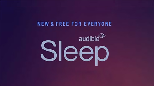 "Purple background with the words ""New and free for everyone, Sleep"" with the Audible logo"