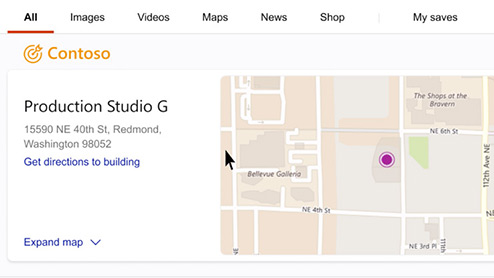 Bing Search results page showing the office location on a floorplan.