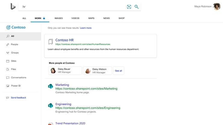 Strona wyników wyszukiwania Bing z wewnątrzfirmowymi witrynami na liście.
