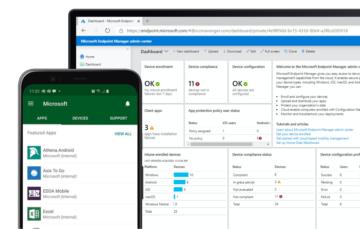 A laptop screen shows Microsoft Enpoint Manager admin center and a phone screen shows a list
