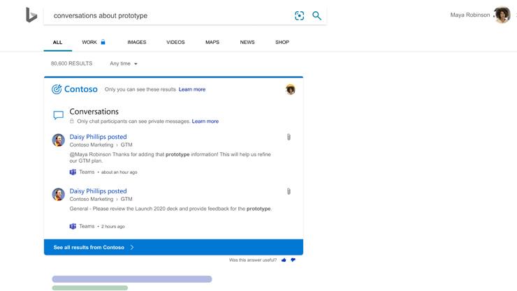 Wyniki wyszukiwania Bing pokazujące ostatnie rozmowy, w których wspomniano słowo kluczowe.