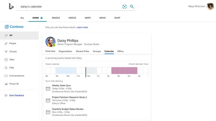 Strona wyników wyszukiwania Bing z informacją o dostępności pracownika opartą na danych z kalendarza.