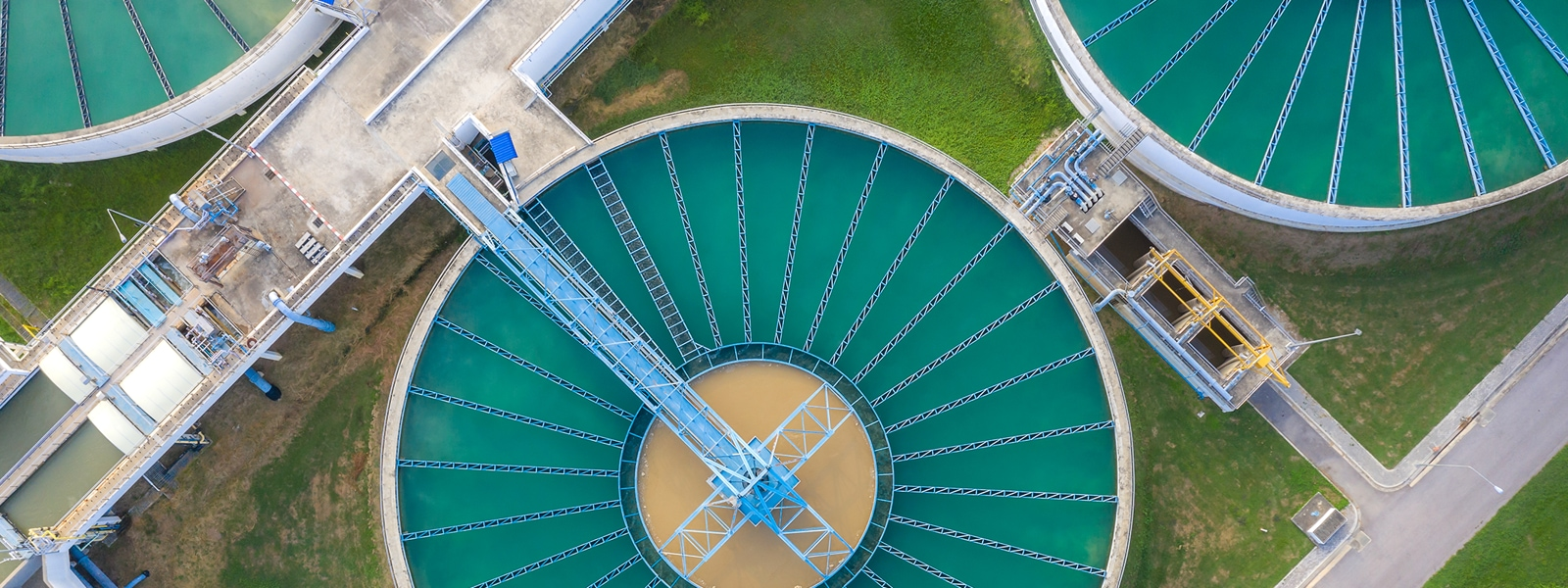 A water treatment plant, viewed from above.