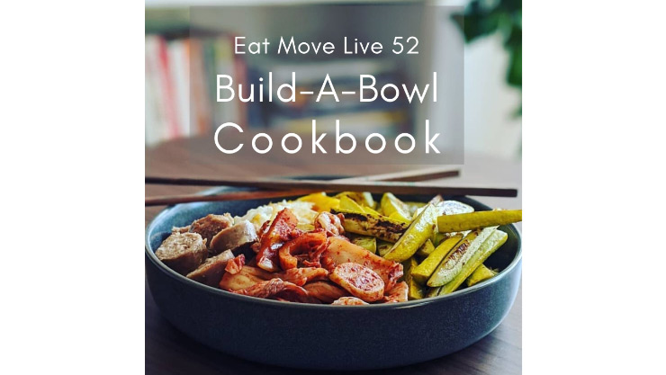 Cookbook cover with bowl of prepared food