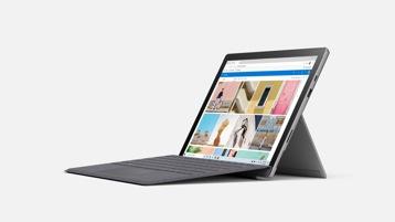 Ordinateur Surface Pro 7 couleur Platine avec Clavier Type cover couleur Platine.