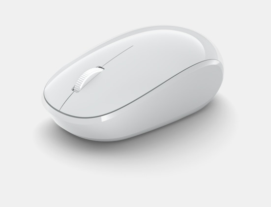 Angled view of Microsoft Bluetooth Mouse.