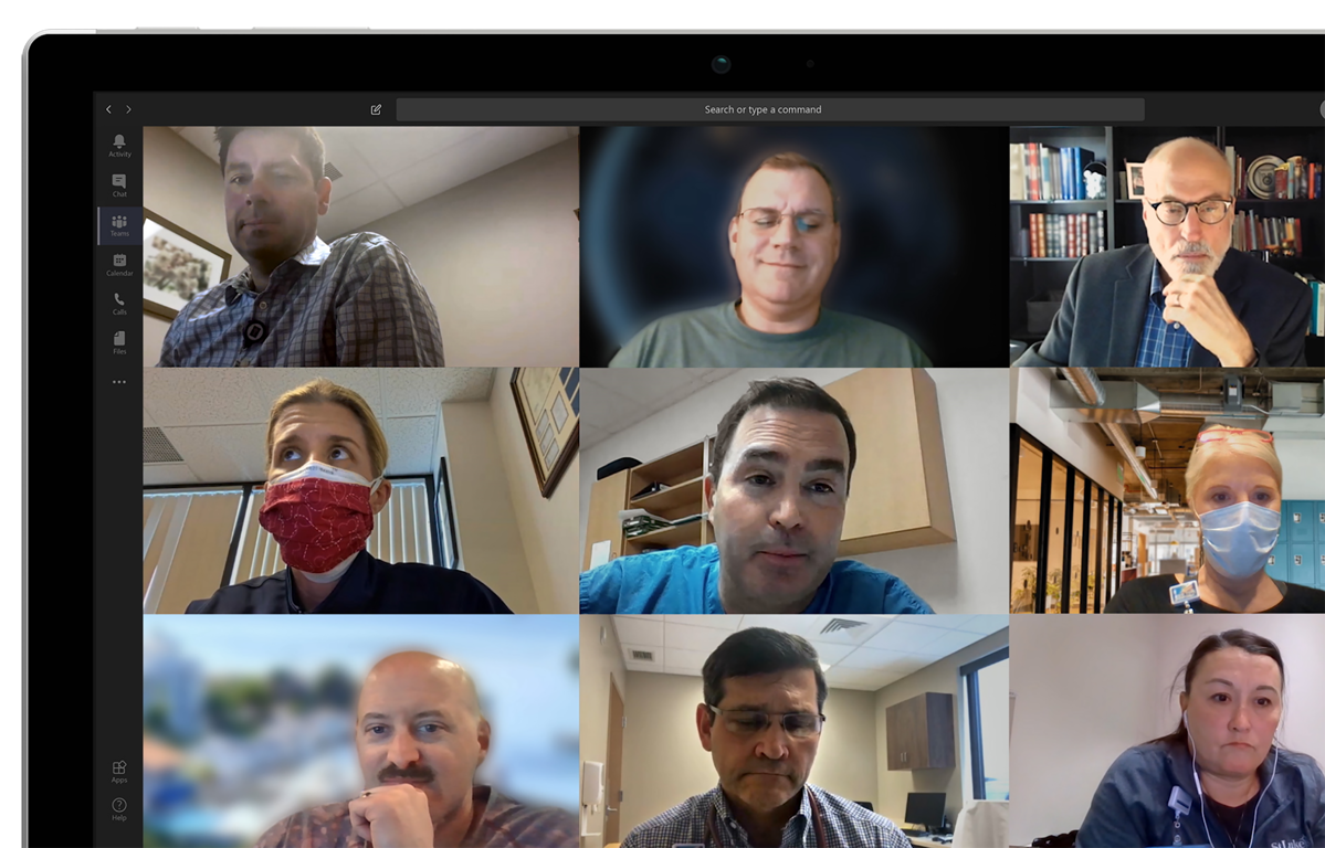 Still image from video chat including nine people from St. Luke's University Health Network. Some can be seen wearing a face mask.