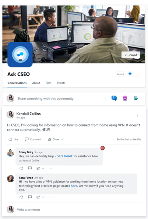 A screen shot of an Ask CSEO conversation where an employee has posted looking for assistance and an Ask CSEO community member has tagged a product expert to assist with the request.