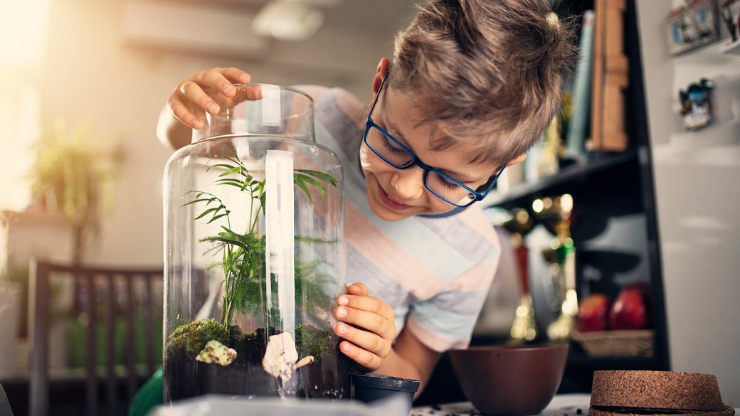 Photo credit: Imgorthand/E+/Getty Images. Young boy making a plant bottle garden at home.