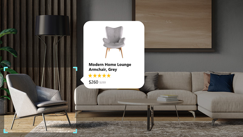 Modern home lounge chair price and rating details displayed in a pop up around an arm chair displayed as part of a living room set