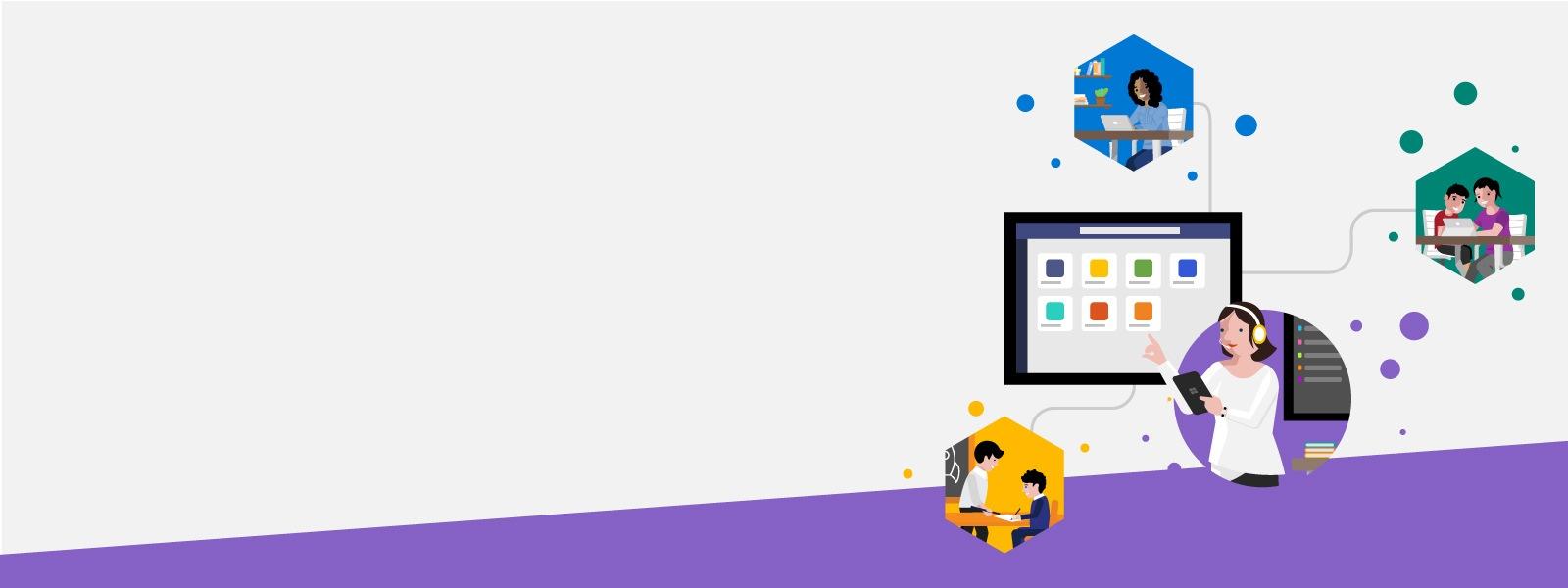 """Grauer Hintergrund mit der Beschriftung """"LearnEd – Online Weiterbilden"""" und Icons, die Lehrer, Schüler und Forscher vereinfacht darstellen."""