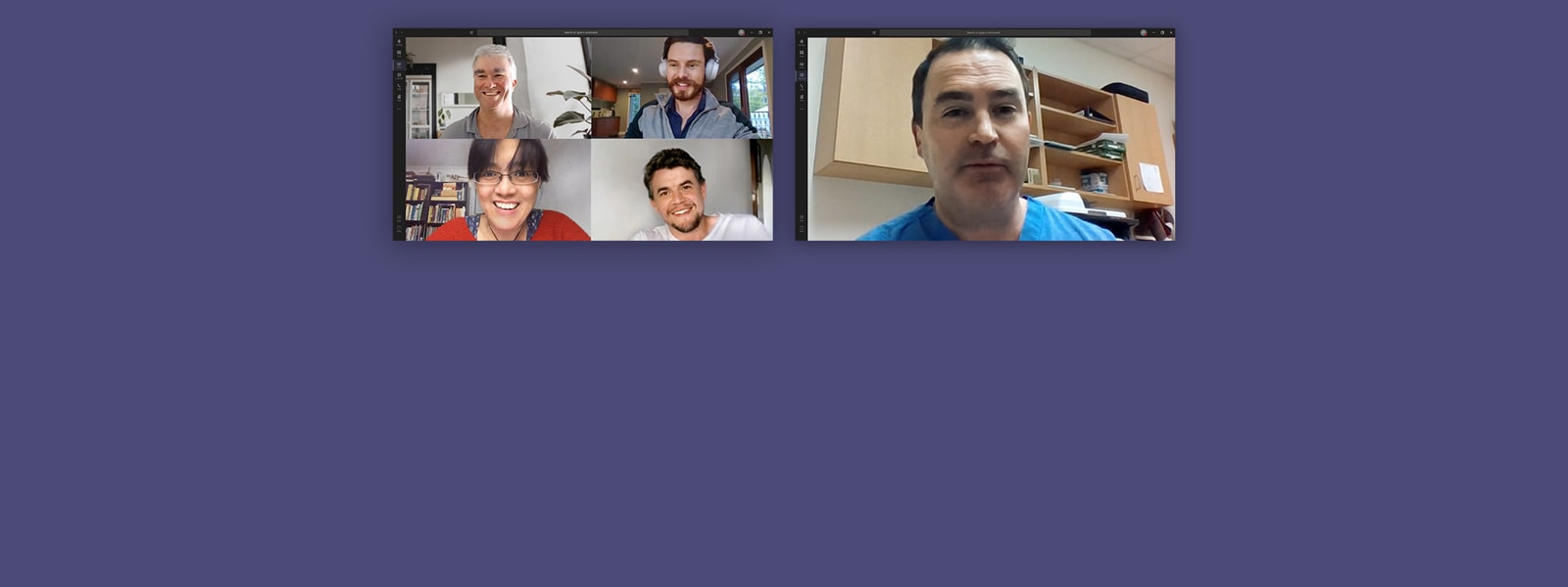 Five people work remotely using Microsoft Teams.