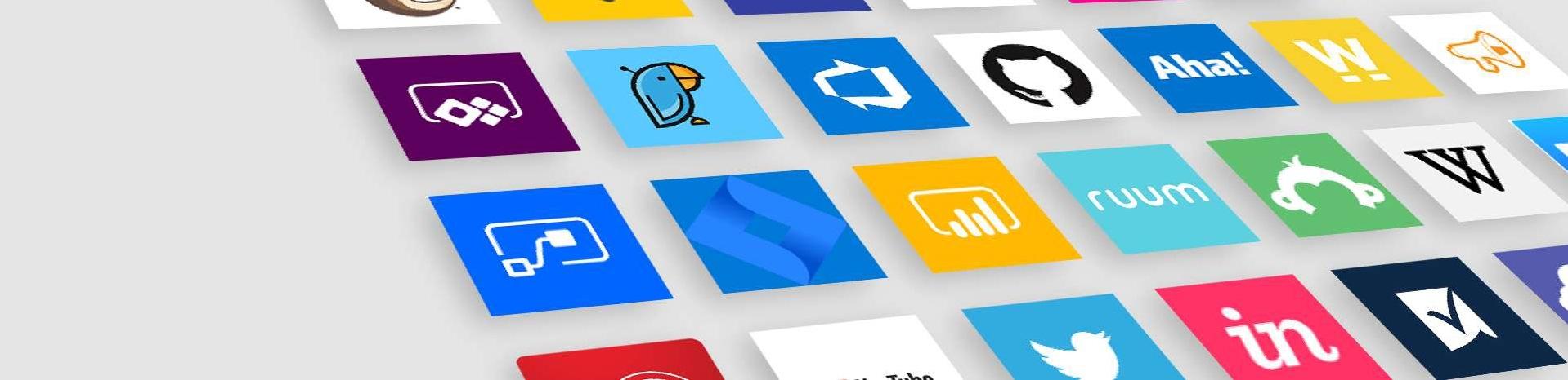 Illustration colorée montrant différents logos d'application alignés sur fond gris.
