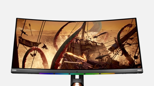 Slight zoom of MSI Gaming Monitor Optix MPG341CQR with Sea of Thieves gaming screen
