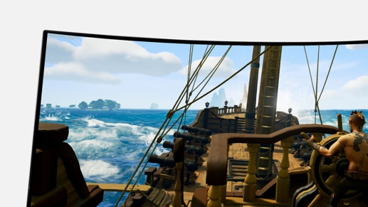 Top-left zoom of MSI Gaming Monitor Optix MPG341CQR with Sea of Thieves gaming screen