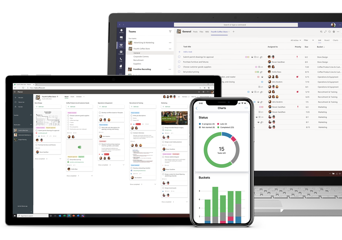 A tablet showing Planner on a web browser, a laptop showing Tasks in Teams, and a mobile device showing a progress circle chart and a buckets bar chart.