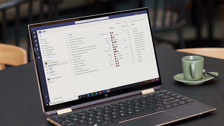 A laptop screen showing the Tasks app in Teams.
