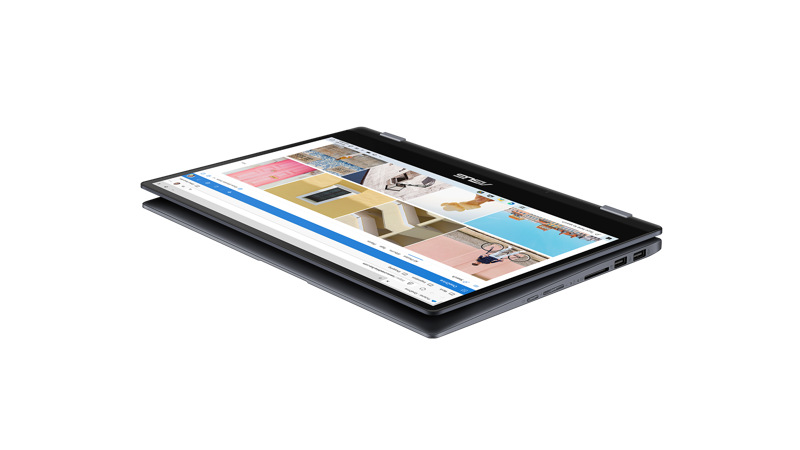 Angled view of Asus Vivobook Flip in tablet view with OneDrive photos screen