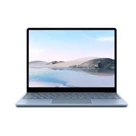 An ice blue Surface Laptop Go sits open against a white backdrop.
