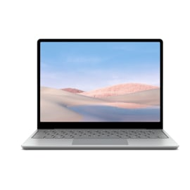 Surface Laptop Go en platino sobre un fondo blanco.