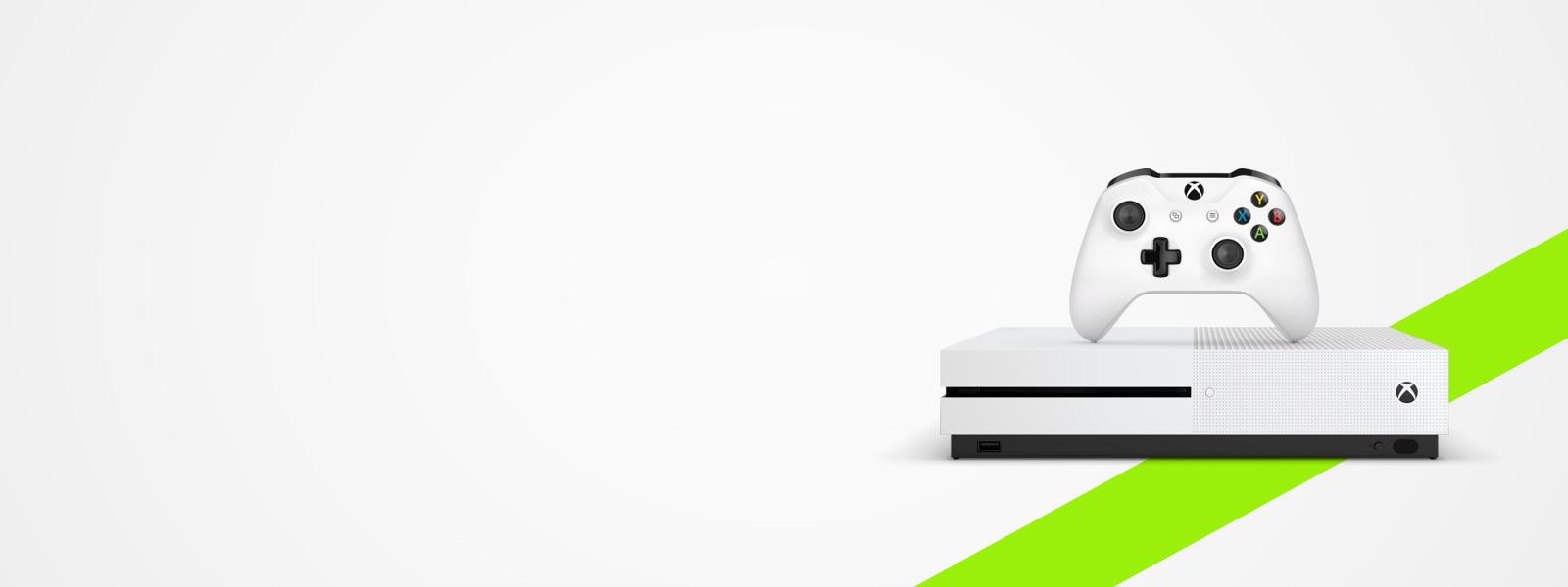 Een Xbox One S-console en controller