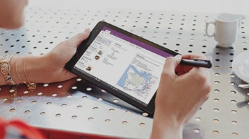 OneNote on a tablet screen