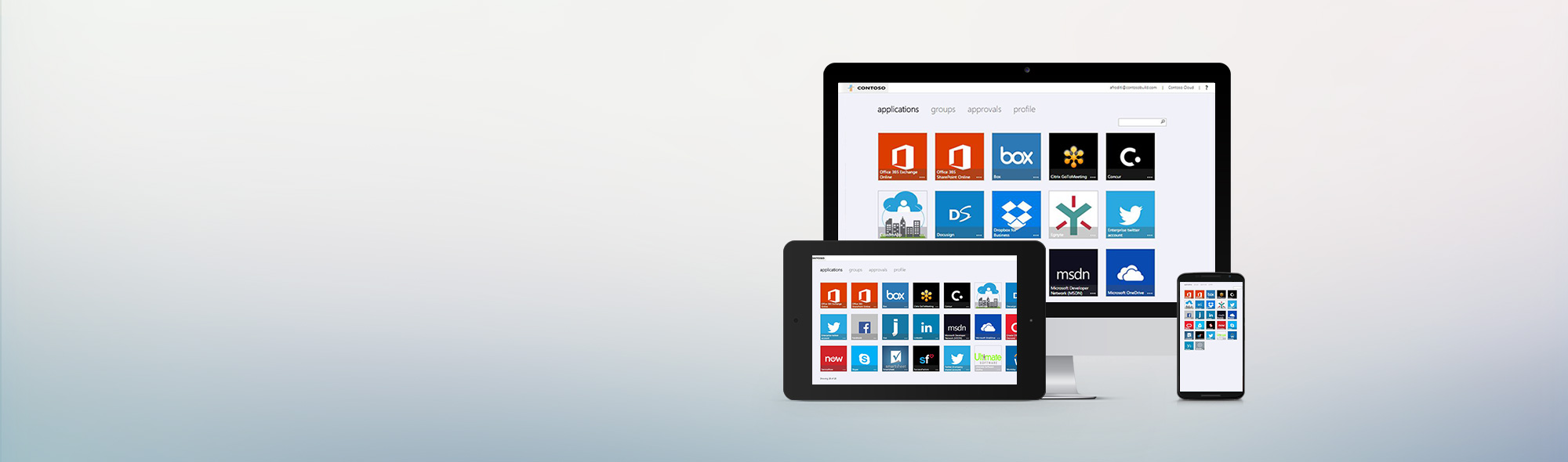 Desktop, tablet and smartphone with app icons.