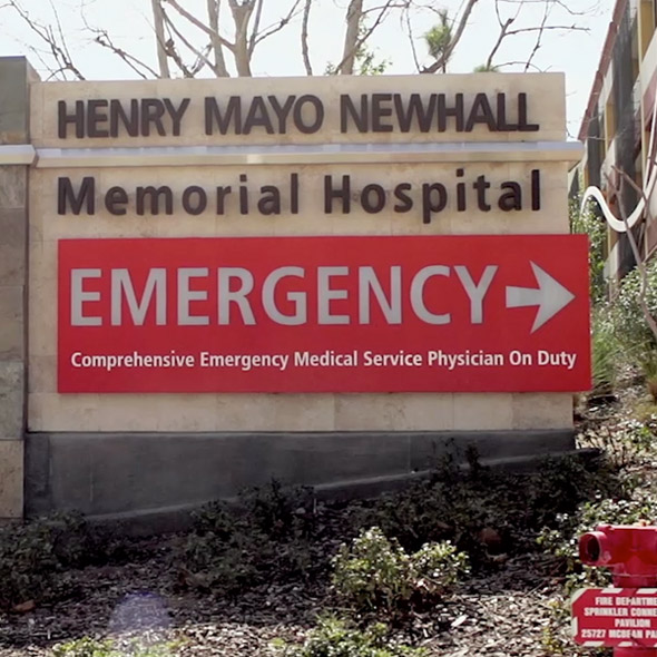 Henry Mayo Newhall Memorial Hospital Emergency sign.