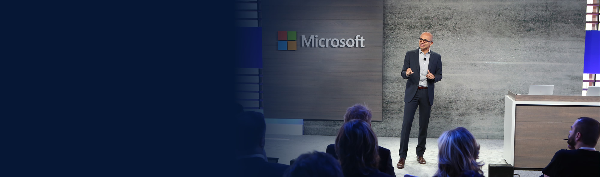 Satya Nadella speaking at Microsoft data driven event.
