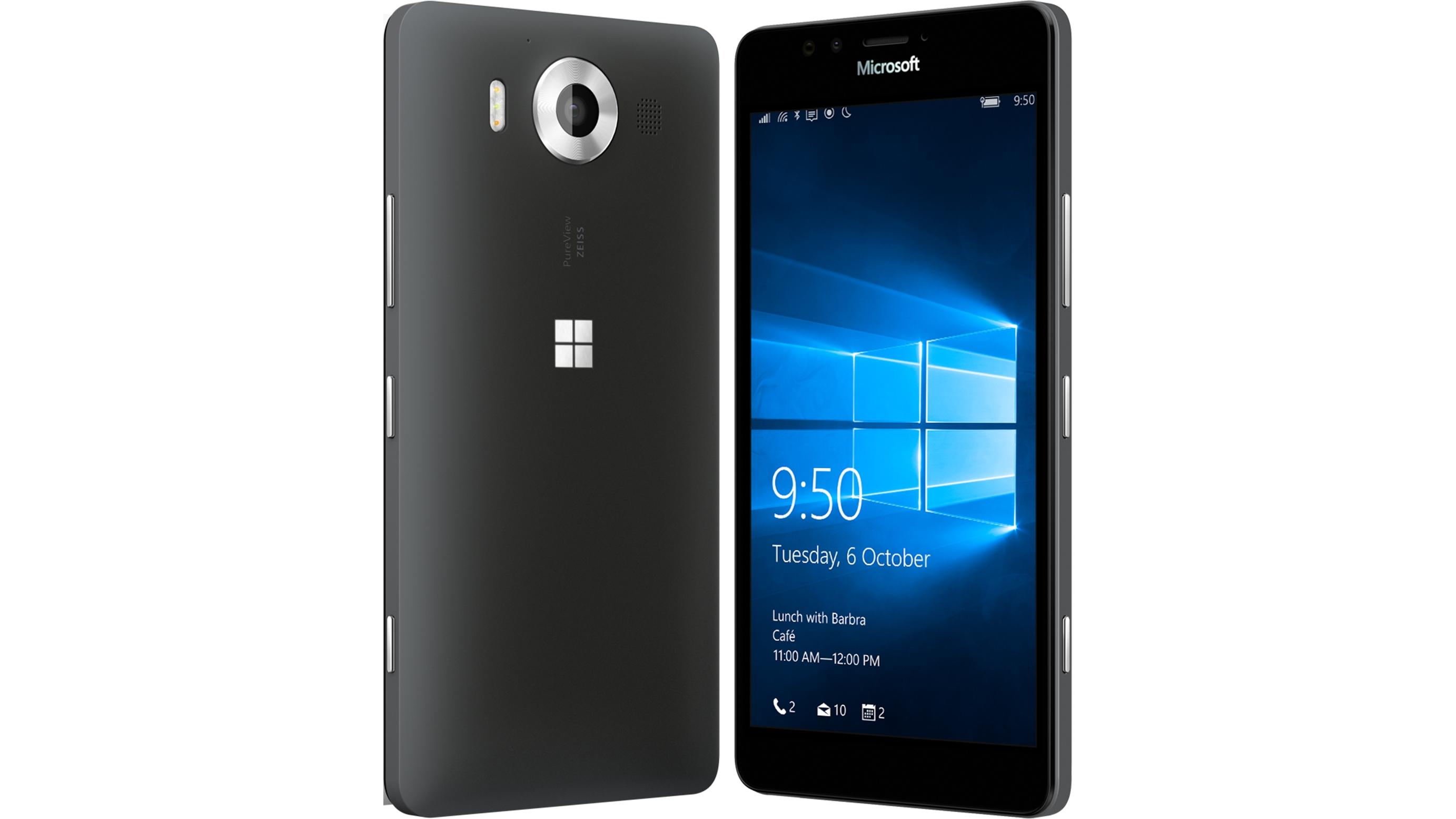 microsoft lumia 950. microsoft lumia 950 - black front and back view e