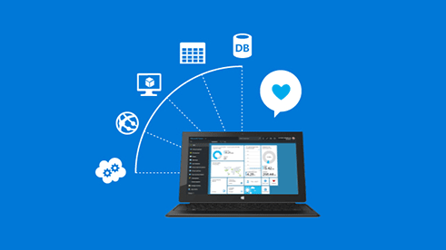 PC with tech icons, sign up for a free Microsoft Azure account