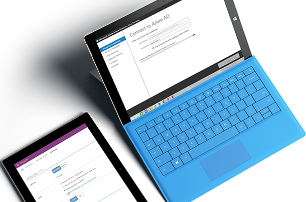 Two tablets with screen Connect to Azure AD.