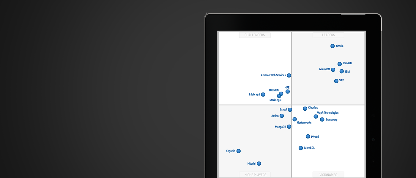 태블릿에 표시된 Gartner Magic Quadrant for Data Warehouse Database Management Systems 차트.