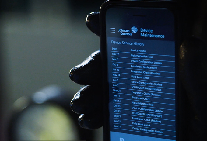 Scherm Device maintenance van Johnson Controls op smartphone.