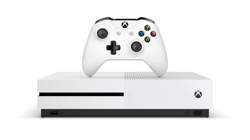 Xbox Ons S with controller set on top.